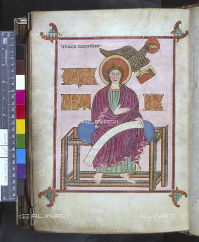 BLB-S-00C021-6502 - San Giovanni, miniatura del primo quarto del VIII secolo tratta da manoscritto inglese, British Library, Londra - The British Library Board/Archivi Alinari, Firenze