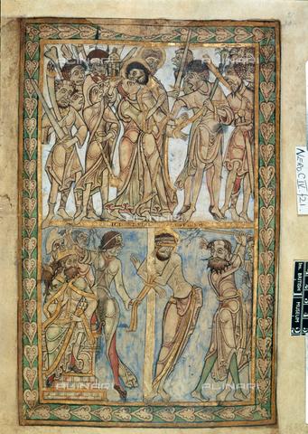 """BLB-S-00C060-0007 - Il tradimento di Giuda e la Flagellazione di Cristo, miniatura tratta dal """"Salterio di Winchester"""" (1121-1161), British Library, Londra - The British Library Board/Archivi Alinari, Firenze"""