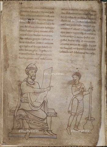 BLB-S-00C120-1609 - A doctor and an assistant prepare medicines, miniature taken from a volume of medical miscellanea of the twelfth century, British Library, London - The British Library Board/Alinari Archives, Florence