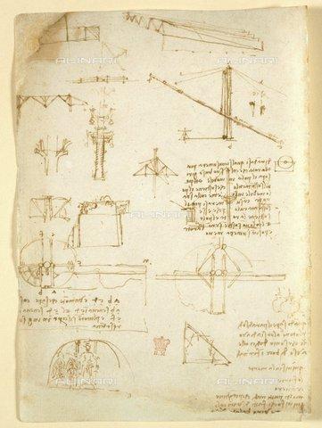 """BLB-S-00C132-3112 - I disegni di Leonardo da Vinci sui poteri meccanici e le forze, la percussione, la gravità, il movimento, l'ottica e l'astronomia con varie proposte aritmetiche e geometriche, da """"Libro di osservazioni di Leonardo da Vinci"""" (Italia, inizio del XVI secolo), Arundel 263 f.231, British Library, Londra - The British Library Board/Archivi Alinari, Firenze"""