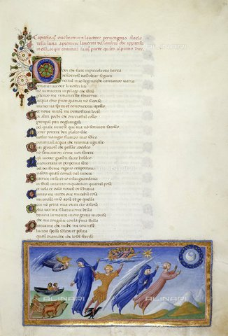 BLB-S-00C132-3211 - Manoscritto raffigurante Dante e Beatrice in visita sul Cielo della Luna, Paradiso - canto II, Divina Commedia, Yates Thompson 36, f.131, British Library, miniatura di produzione italiana (senese?), 1450 ca. - The British Library Board/Archivi Alinari, Firenze