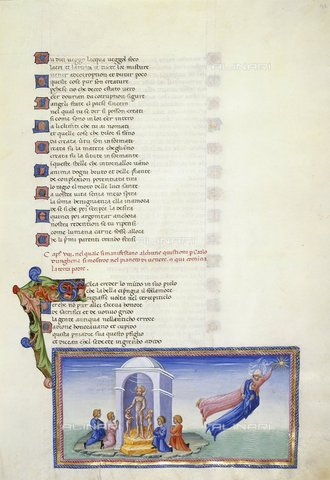 BLB-S-00C132-3214 - Manoscritto raffigurante Dante e Beatrice che salgono al cielo di Venere, Paradiso, Divina Commedia, Yates Thompson 36, f.142, British Library, produzione italiana (senese?), 1450ca - The British Library Board/Archivi Alinari, Firenze