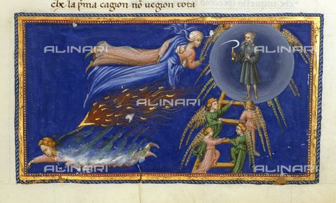 BLB-S-00C132-3222 - Divine Comedy, Paradise, Ascent of Dante and Beatrice to the Paradise of Saturn (VII Heaven), illuminated page, 15th century Art, British Library, London - The British Library Board/Alinari Archives, Florence