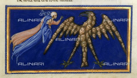 BLB-S-00C132-3227 - Divine Comedy, Paradise, canto XVIII, Dante and Beatrice before the Eagle of Justice - The British Library Board/Alinari Archives, Florence