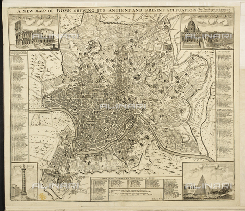 """BLB-S-00F600-1481 - """"A Plan of Rome, showing its ancient and present situation"""", mappa di Roma, incisione, 1715 ca., British Library, Londra - The British Library Board/Archivi Alinari, Firenze"""