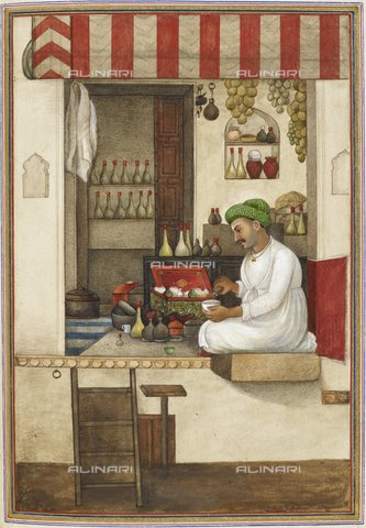 "BLB-S-00K900-8673 - Man pouring liquid into a bowl, image taken from ""Tashrih al-aqvam, the story of the origins of some caste and tribe of India"" (1825), British Library, London - The British Library Board/Alinari Archives, Florence"