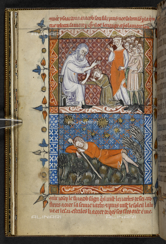 BLB-S-00T000-8716 - Two scenes from the Old Testament: Jacob's blessing and Joseph's dream, Book of Hours, use of Sarum (The 'Hours of Neville of Hornby'), manuscript Egerton 2781, f.8v, British Library, London - The British Library Board/Alinari Archives, Florence