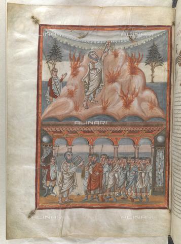 """BLB-S-10546F-025V - Mosè riceve le tavole della legge e Mosè si rivolge ad Aaronne e agli israeliti, miniature tratte dalla Bibbia """"Moutier-Grandval"""", British Library, Londra - The British Library Board/Archivi Alinari, Firenze"""