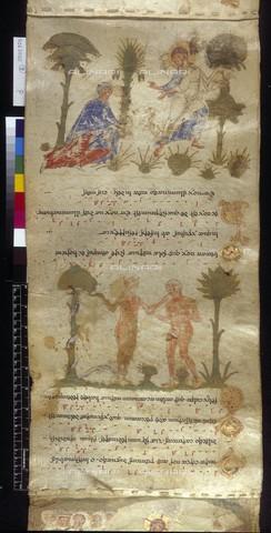 """BLB-S-30337F-008R - """"Noli me tangere"""" e """"Adamo ed Eva nel paradiso terrestre"""" da Exultet Roll (Abbazia di Montecassino 1072 ca.), British Library, Londra - The British Library Board/Archivi Alinari, Firenze"""