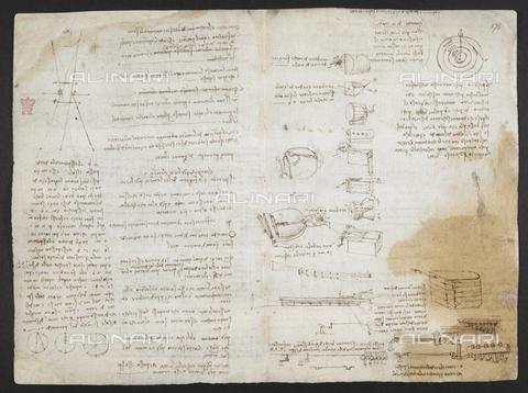 """BLB-S-MS263F-174V - I quattro elementi 'Gravità e levità sono infra loro equal potenzie…', Appunti e disegni di Leonardo da Vinci, dal """"da """"Libro di osservazioni di Leonardo da Vinci"""" (Italia, inizio del XVI secolo), Arundel Ms 263, f.174v-175, British Library, Londra - The British Library Board/Archivi Alinari, Firenze"""