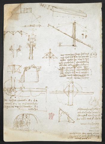 """BLB-S-MS263F-231V - I disegni di Leonardo da Vinci sui poteri meccanici e le forze, la percussione, la gravità, il movimento, l'ottica e l'astronomia con varie proposte aritmetiche e geometriche, da """"Libro di osservazioni di Leonardo da Vinci"""" (Italia, inizio del XVI secolo), Arundel 263 f.231, British Library, Londra - The British Library Board/Archivi Alinari, Firenze"""