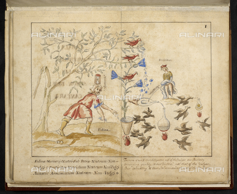 "BLB-S-MS5245-P001 - Page from the manuscript ""Cabala Mineralis"", f. 1, watercolor, Rabbi Simon Ben Cantara, British Library, London - The British Library Board/Alinari Archives, Florence"