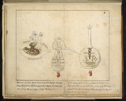 "BLB-S-MS5245-P002 - Page from the manuscript ""Cabala Mineralis"", f. 2, watercolor, Rabbi Simon Ben Cantara, British Library, London - The British Library Board/Alinari Archives, Florence"
