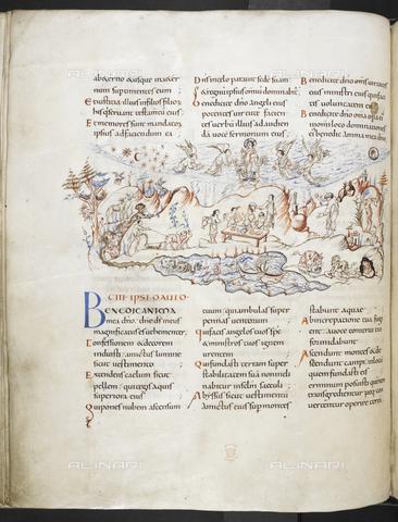 """BLB-S-MS603F-051V - Parte del Salmo 102 e  del Salmo 103, con miniatura raffigurante Cristo con gli angeli ed un paesaggio che include l'aratura di buoi, una festa, i leoni che ritornano nella loro tana dopo la caccia, un lago con mostri, navi, pesci e uccelli, tratta dal """"Salterio di Harley"""" della prima metà dell'XI secolo, British Library, Londra - The British Library Board/Archivi Alinari, Firenze"""