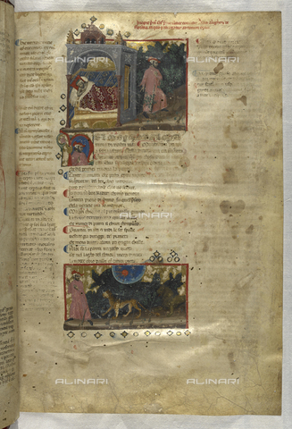 BLB-S-MS943F-003R - Divine Comedy, Hell, Dante sleeping while his soul leaves his body, down Dante's encounter with the leopard and the lion, illuminated page, 14th century art, British Library, London - The British Library Board/Alinari Archives, Florence