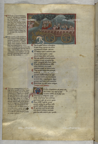 BLB-S-MS943F-117V - Divine Comedy, Purgatory, Chariot with seven virtuous girls and seven apostles, illuminated page, 14th century Art, British Library, London - The British Library Board/Alinari Archives, Florence