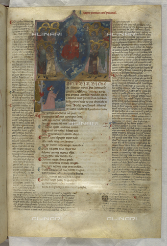 BLB-S-MS943F-129R - Divine Comedy, Paradise, Christ enthroned surrounded by angels, below Dante praying, page illuminated, 14th century art, British Library, London - The British Library Board/Alinari Archives, Florence