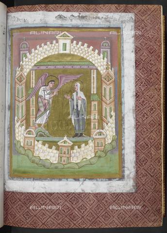 """BLB-S-S2821F-022R - Annunciazione, miniatura tratta dai """"Quattro Vangeli"""" (impero ottoniano, 1050 ca.), British Library, Londra - The British Library Board/Archivi Alinari, Firenze"""