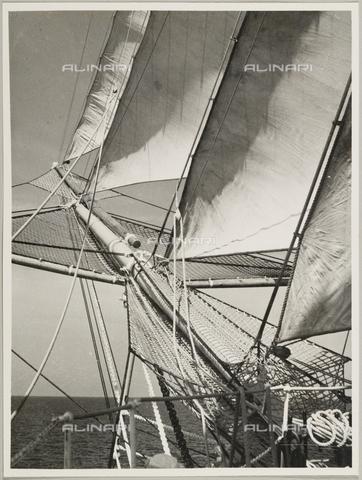 """BMD-A-000001-0048 - Regia Nave Scuola """"Amerigo Vespucci"""": le vele - Data dello scatto: 1938 ca. - Raccolte Museali Fratelli Alinari (RMFA)-donazione Miniati, Firenze"""