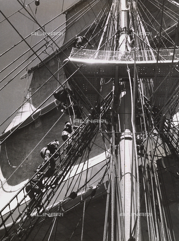 "BMD-A-000001-0050 - The Royal Training Ship ""Amerigo Vespucci"": sailors on the rope ladder"