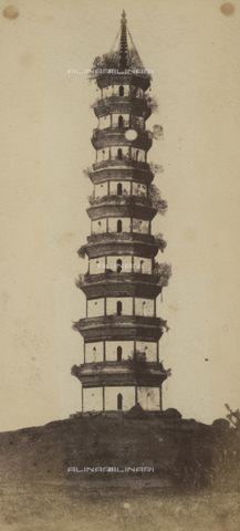 BPC-A-000001-0119 - Porcelain Tower of the Summer Palace in Beijing photographed during the Italian expedition in China. Print the sun from paper negatives - Data dello scatto: 1859 - Archivi Alinari, Firenze