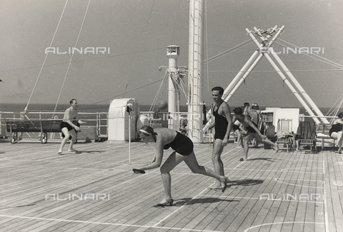 "BVA-A-004052-0036 - Album ""Corfu , Athens and the Bay of Kotor "": Tourists playing tennis on board of a cruise ship"