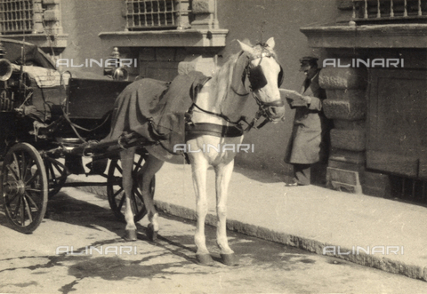 BVA-F-000650-0000 - A carriage stopped at the side of the street. Postcard sent by the author to Vincenzo Balocchi