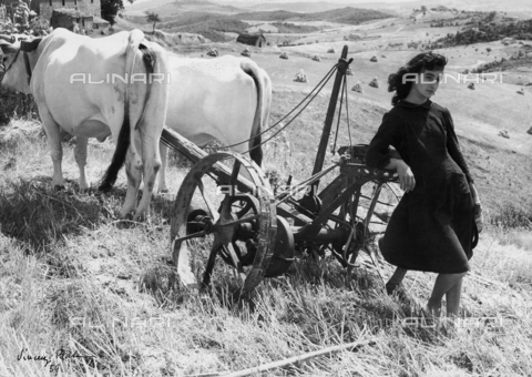 "BVA-F-006084-0000 - ""Colli senesi"", portrait of young woman leaning against a plow"