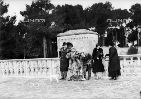 CAD-S-110009-0002 - Animated portrait of a group with two dogs - Date of photography: 13 febbraio 1927 - Fratelli Alinari Museum Collections-Cammarata Donation, Florence
