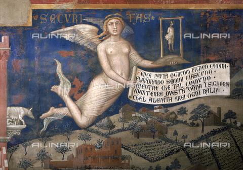 CAL-F-000055-0000 - Particolare del dipinto murale di Ambrogio Lorenzetti intitolato 'Gli Effetti del Buon Governo', conservato nella Sala della Pace in Palazzo Pubblico, a Siena. L'immagine privilegia la figura allegorica della Sicurezza rappresentata negli effetti del Buon Governo in Campagna. La Sicurezza, impersonata da una figura angelica, regge nella mano sinistra un appeso e nella mano destra un cartiglio - Data dello scatto: 1990 - Archivi Alinari, Firenze