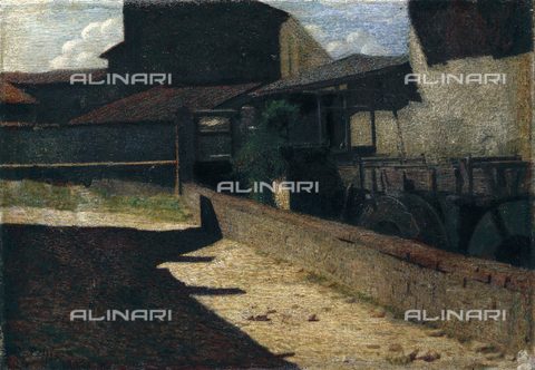 CAL-F-001738-0000 - 'Old Mill in Volpedo', painting by Giuseppe Pellizza in a privae collection. The painting shows an old water mill flanked by other rural buildings illuminated by warm sunlight - Date of photography: 1991 - Alinari Archives, Florence