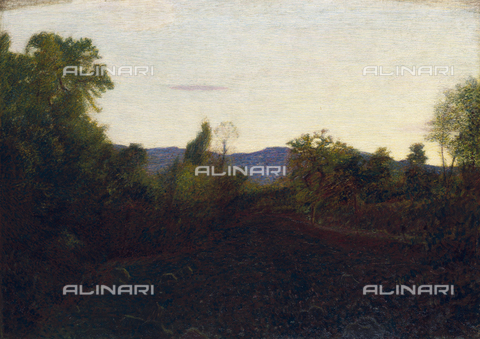 CAL-F-001739-0000 - 'Autumn Evening', painting by Giuseppe Pellizza in the Museo Civico of Varese. The picture shows a peaceful landscape in the warm twilight of an autumn evening - Date of photography: 1991 - Alinari Archives, Florence
