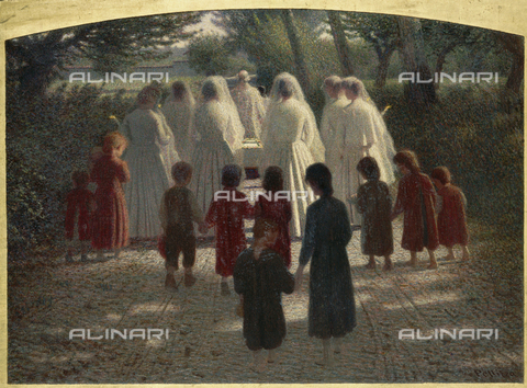 CAL-F-001741-0000 - 'Il Morticino', painting by Giuseppe Pellizza in the Musee d'Orsay in Paris. A funeral procession composed of girls in white dresses accompanies a small bier to the cemetery along a sunny country road. A group of children are following the solemn procession - Date of photography: 1991 - Alinari Archives, Florence