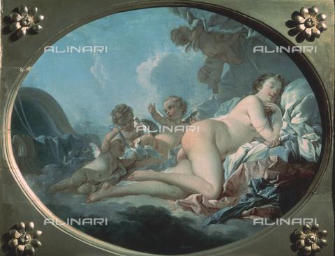 CAL-F-001773-0000 - Dipinto raffigurante Venere addormentata, opera di François Boucher conservata presso il Museo Pushkin a Mosca. La bella dea dal corpo nudo giace addormentata fra le nuvole su un letto di morbidi drappi, attorniata da biondi amorini - Data dello scatto: 1991 - Archivi Alinari, Firenze