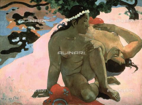 """CAL-F-001828-0000 - """"Cosa, sei gelosa?"""", dipinto di Paul Gauguin, Museo Pushkin, Mosca - Data dello scatto: 1991 - Archivi Alinari, Firenze"""