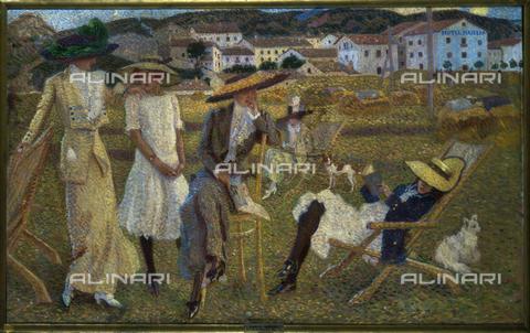 CAL-F-001944-0000 - The Vacationers by Camillo Innocenti, oil on canvas, Rome, Accademia di S. Luca - Data dello scatto: 1991 - Archivi Alinari, Firenze
