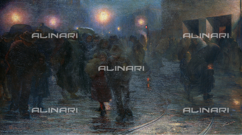 CAL-F-001952-0000 - Dicembre. L'alba dell'operaio, olio su tela di Giovanni Sottocornola, Milano, Galleria d'Arte Moderna - Data dello scatto: 1991 - Archivi Alinari, Firenze
