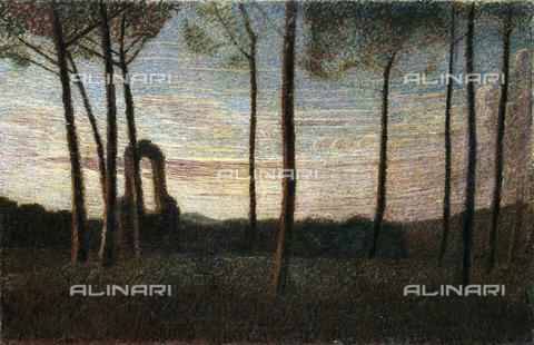 CAL-F-001960-0000 - Landscape at Villa Borghese, oil on canvas by Giuseppe Pellizza, private collection - Data dello scatto: 1991 - Archivi Alinari, Firenze