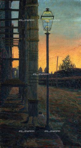 CAL-F-001964-0000 - Street of Porta Pinciana at sunset (Streetlamp on Via Porta Pinciana), painted by Gino Severini, private collection - Data dello scatto: 1991 - Archivi Alinari, Firenze