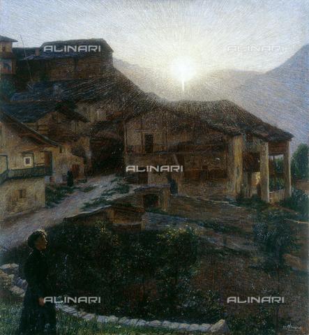 """CAL-F-001966-0000 - """"The sun in Ussolo (Macra Valley)"""", painted by Matteo Olivero, private collection - Data dello scatto: 1991 - Archivi Alinari, Firenze"""