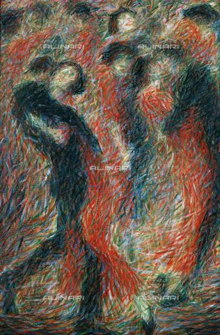 """CAL-F-001968-0000 - """"Tango, ballava una donna vestita di rosso, fantasia su una coppia che balla"""", dipinto di Giuseppe Cominetti, Collezione privata - Data dello scatto: 1991 - Archivi Alinari, Firenze"""
