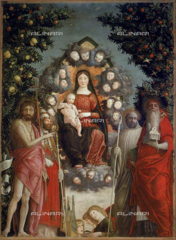 CAL-F-003500-0000 - Dipinto raffigurante la Madonna in gloria e santi, opera di Andrea Mantegna conservata nella Pinacoteca del Castello Sforzesco a Milano - Data dello scatto: 1997 - Archivi Alinari, Firenze