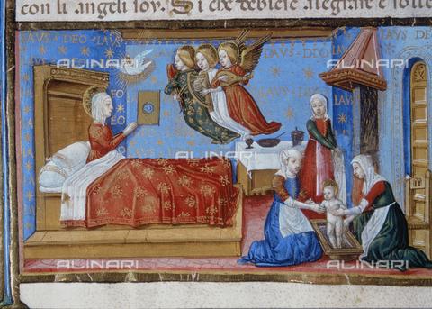 CAL-F-004514-0000 - Miniatura raffigurante La Nascita di Maria, nel Codice De Predis (c.11v) conservato presso la Biblioteca Reale di Torino - Data dello scatto: 1998 - Archivi Alinari, Firenze