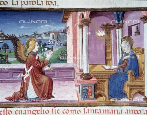 CAL-F-004526-0000 - Miniatura raffigurante l'Annunciazione, nel Codice De Predis (c.36v) conservato presso la Biblioteca Reale di Torino - Data dello scatto: 1998 - Archivi Alinari, Firenze