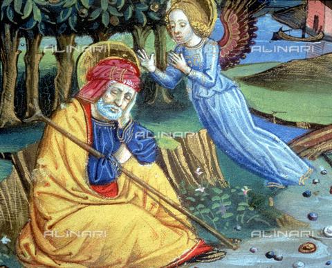 CAL-F-004527-0000 - Miniatura raffigurante un Angelo comunica a Giuseppe che Maria è incinta, nel Codice De Predis (c.37v) conservato presso la Biblioteca Reale di Torino - Data dello scatto: 1998 - Archivi Alinari, Firenze