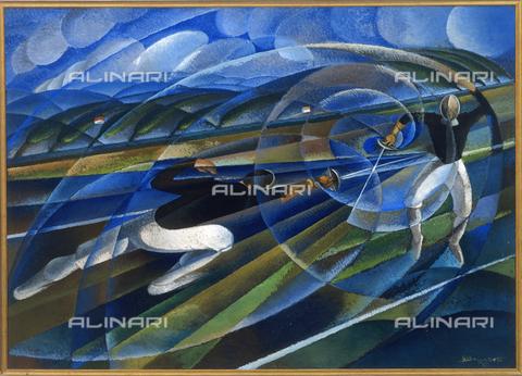 CAL-F-005755-0000 - Dipinto raffigurante un incontro di scherma, opera di Sandro Bruschetti già conservata nel Civico Museo d'Arte Contemporanea di Palazzo Reale, oggi nel Museo del Novecento, Milano - Data dello scatto: 1998 - Archivi Alinari, Firenze