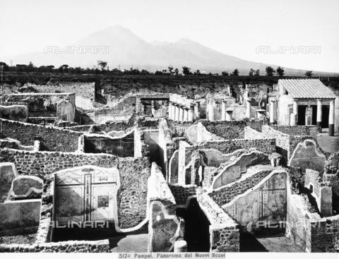 CGA-F-005174-0000 - Veduta generale dei nuovi scavi di Pompei, effettuati intorno al 1860. In secondo piano si scorge l'imponente Vesuvio - Data dello scatto: 1890-1900 ca. - Archivi Alinari, Firenze