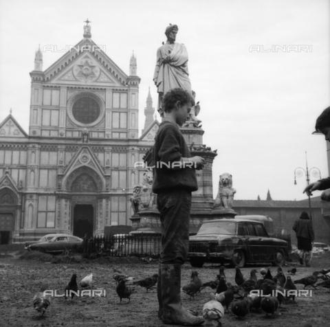 DAA-S-085005-0005 - Alluvione di Firenze del 4 novembre 1966: bambini e piccioni nel fango di piazza Santa Croce - Data dello scatto: 06/11/1966 - Dufoto / Archivi Alinari