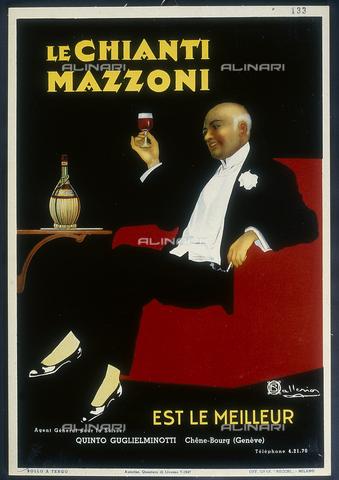 """DAL-F-000344-0000 - Manifesto storico del Chianti """"Mazzoni"""". Museo della Vite e del Vino, Villa di Poggioreale, Rufina. - Data dello scatto: 1987 - Archivi Alinari, Firenze"""