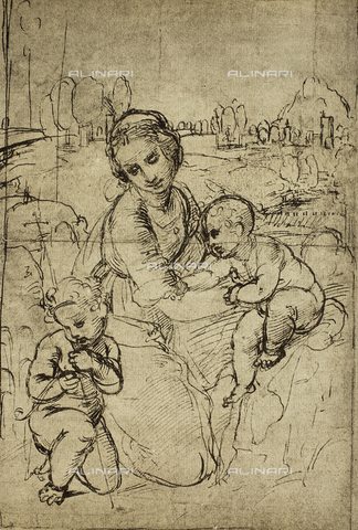 DIS-F-000040-0000 - Madonna and Child with the infant St. John, drawing by Raphael, Gabinetto dei Disegni e delle Stampe, Uffizi Gallery, Florence